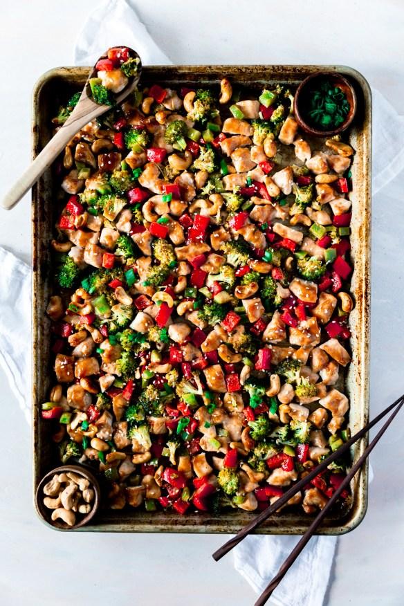 sheet pan dinner cashew nut chicken with vegetables