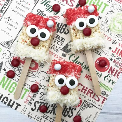 Rice Krispie Treat Recipe: Santa on a Stick!