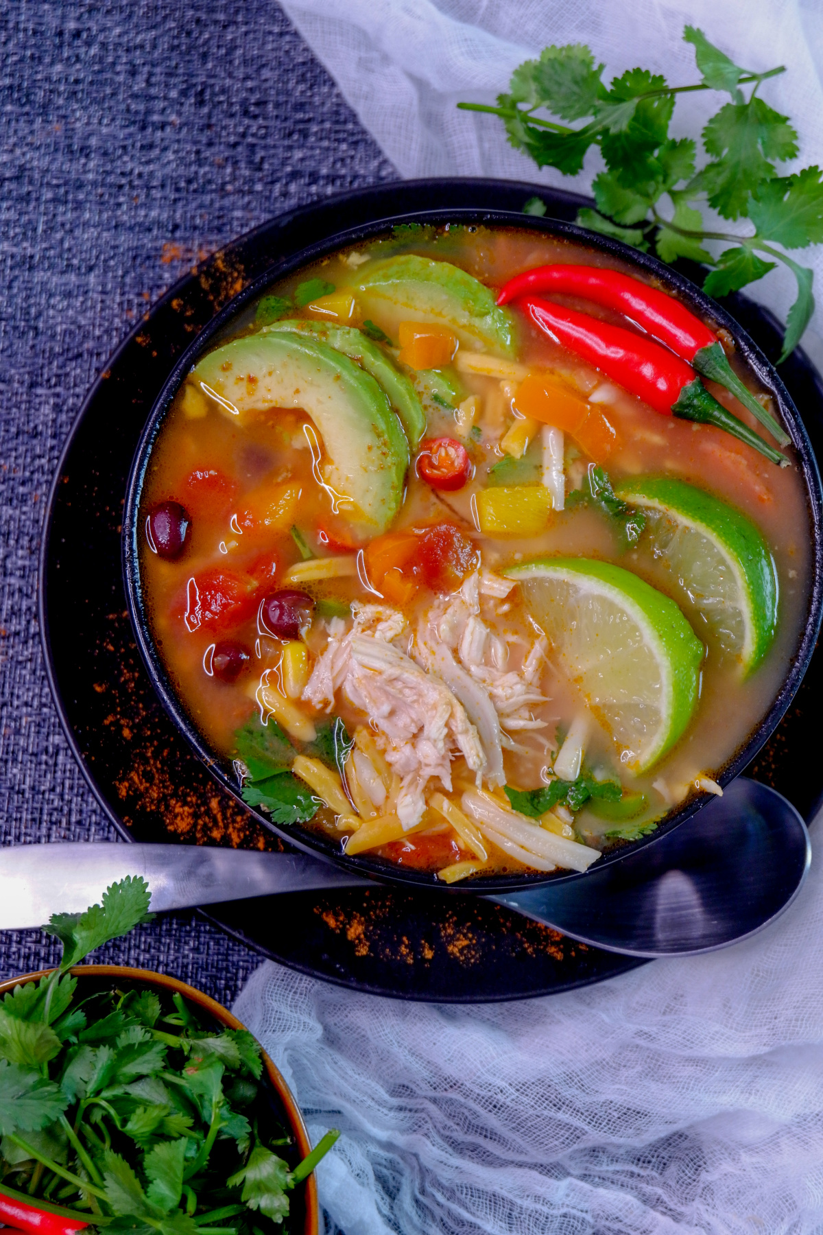 ThisInstant Pot Chicken Tortilla Soup is a perfect comfort food meal that comes together in minutes using your electric pressure cooker with amazing authentic flavours!