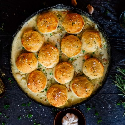 Cast Iron Chicken Pot Pie with Biscuits