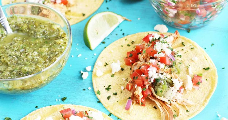 Instant Pot Classic Shredded Chicken Tacos with Salsa Verde