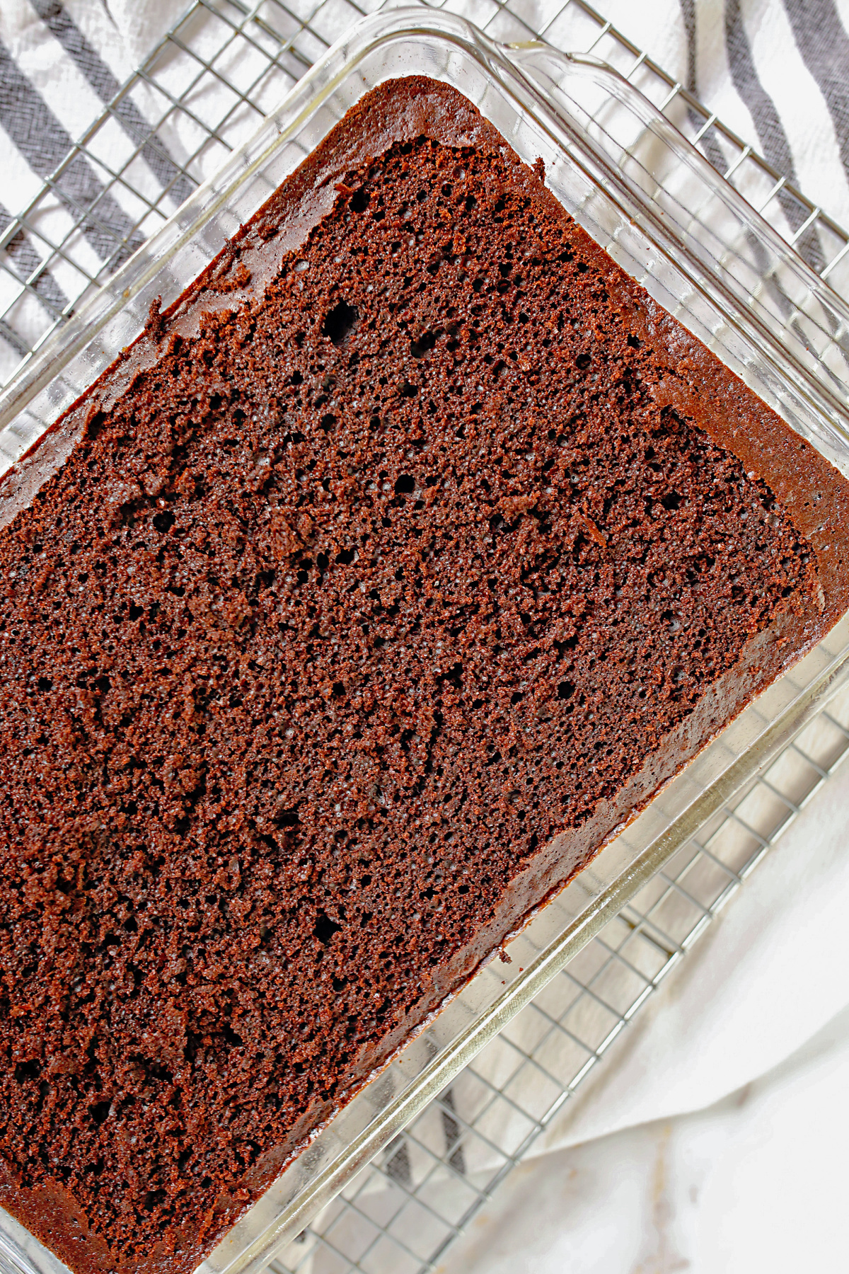 chocolate cake with the top scraped off