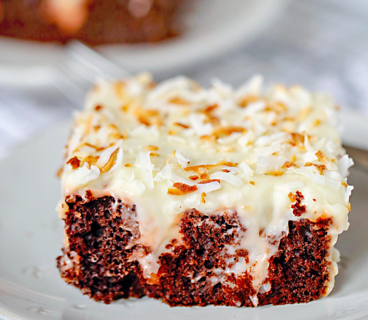 Semi-Homemade Chocolate Coconut Poke Cake