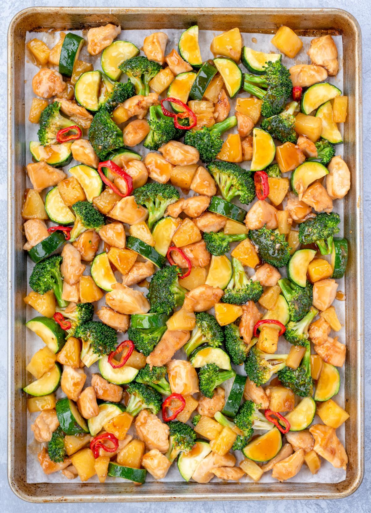sheet pan chicken teriyaki with broccoli, zucchini and pineapple