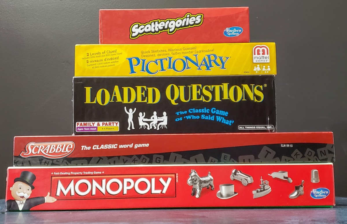 board games, monopoly, pictionary, loaded questions, scrabble