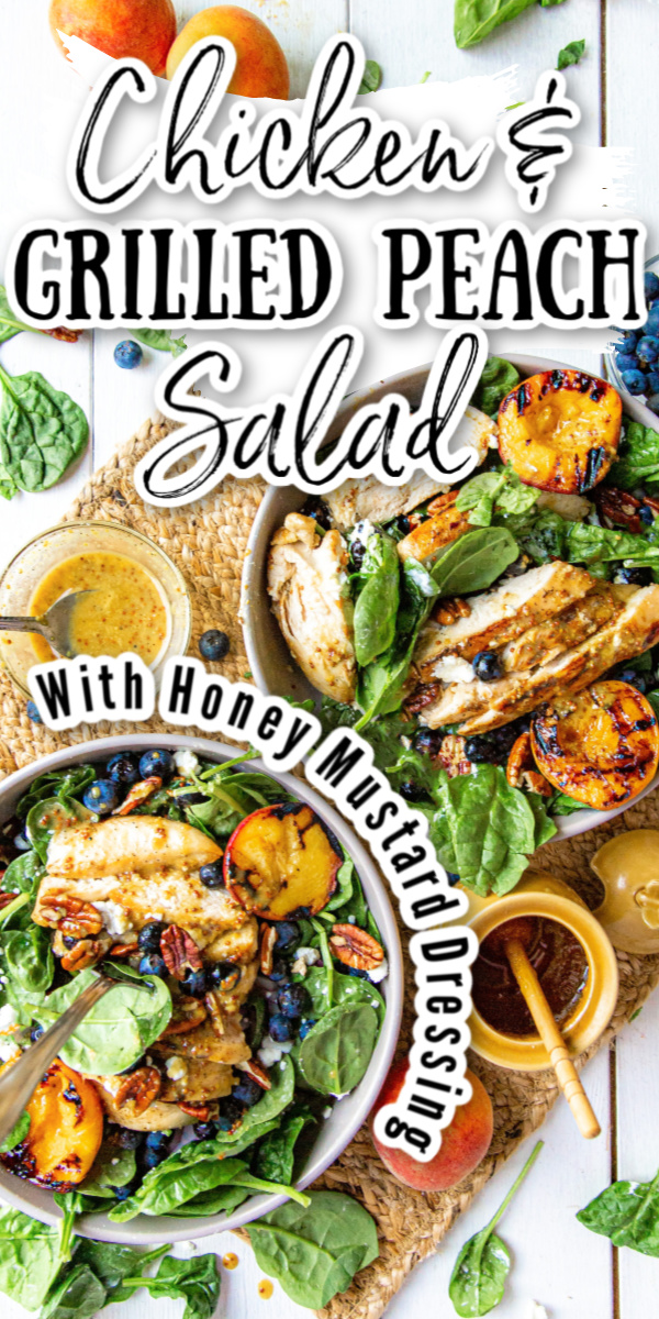 Celebrate summer and the warmer months to come with this tasty Chicken and Grilled Peach Salad with crunchy pecans, fresh blueberries and more.