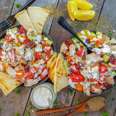 Greek chicken salad two bowls