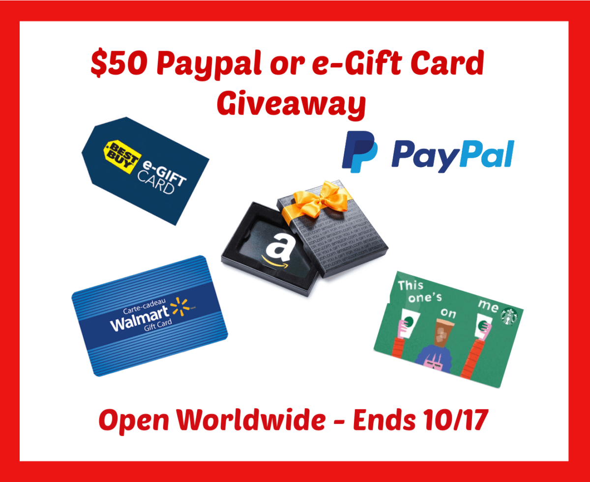 $50 e-Gift Card or Paypal Cash