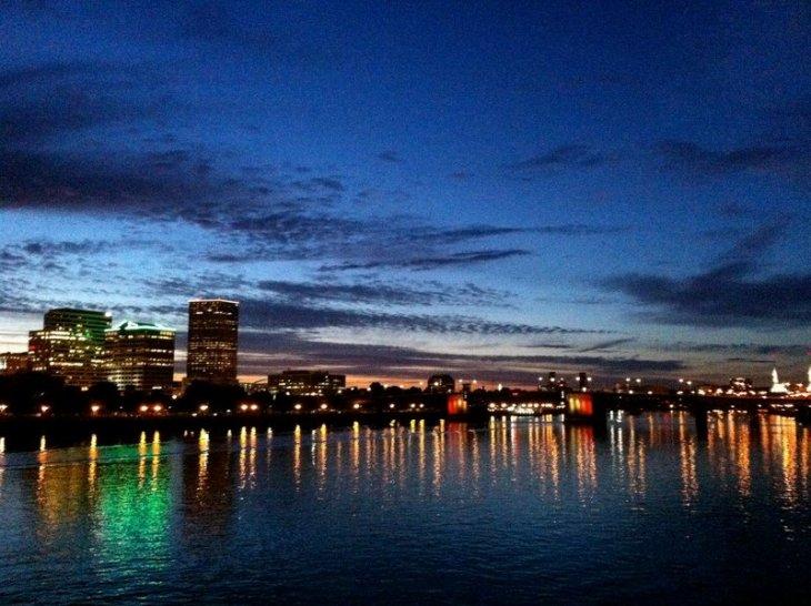 portland skyline at night from Hawthorne bridge
