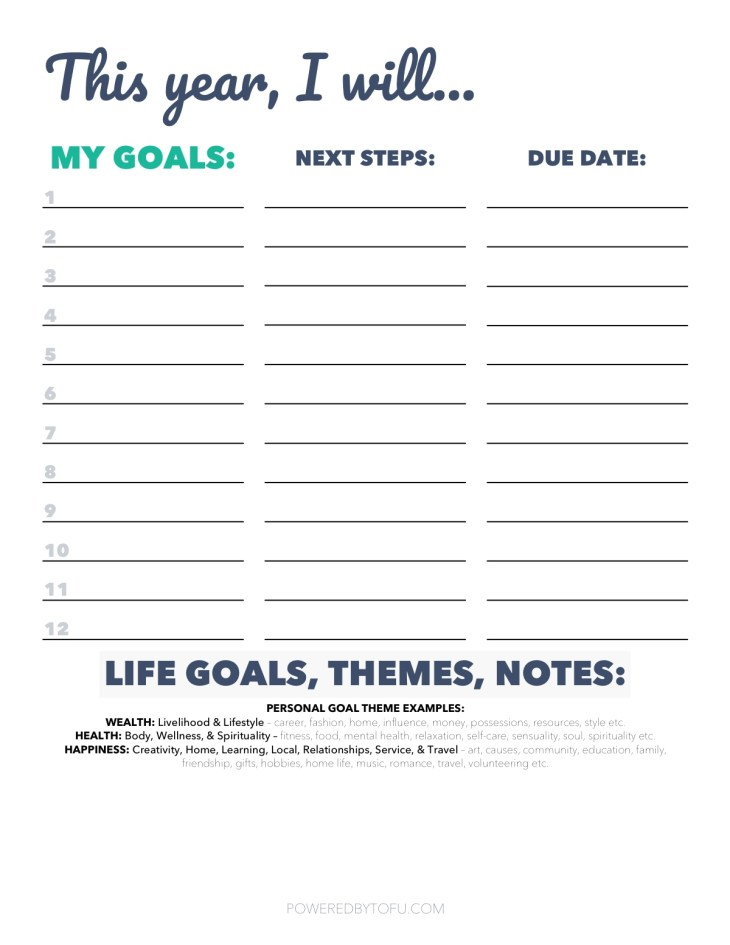 goal setting worksheet printable pdf