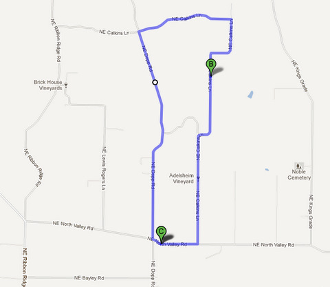 oregon winery bike rides map route 1