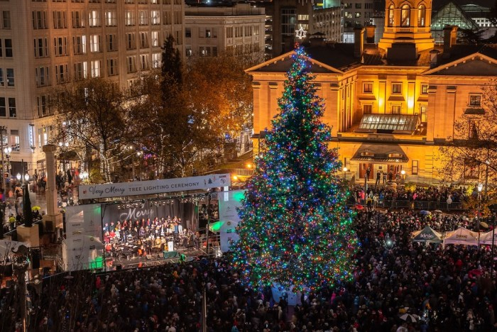 Christmas Tree Lighting at Pioneer Courthouse Square