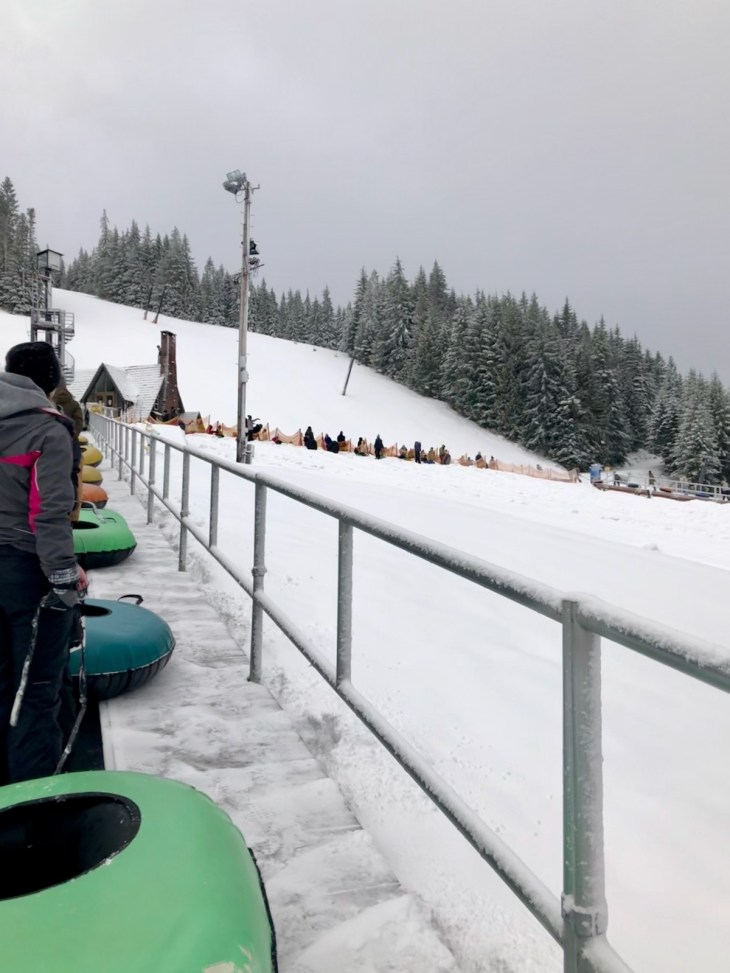 Ski Bowl Tubing run on the conveyor belt up
