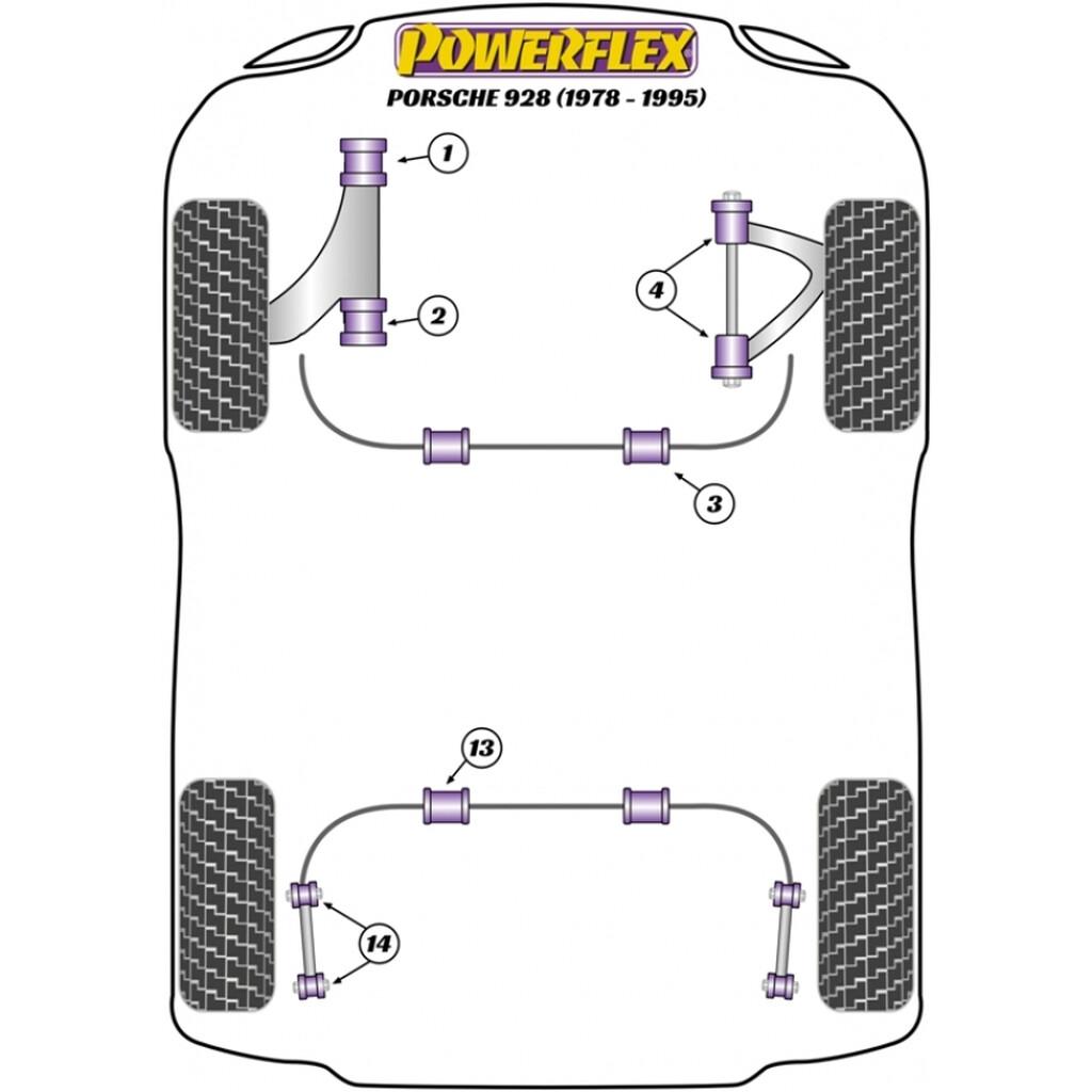4 X Powerflex Pff57 705 Front Upper Arm Bush Porsche 928