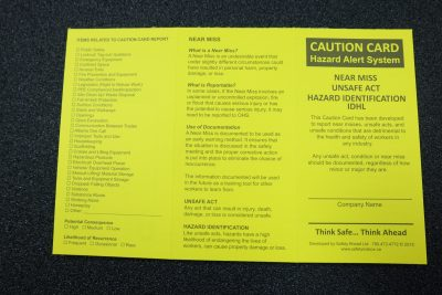 Caution card