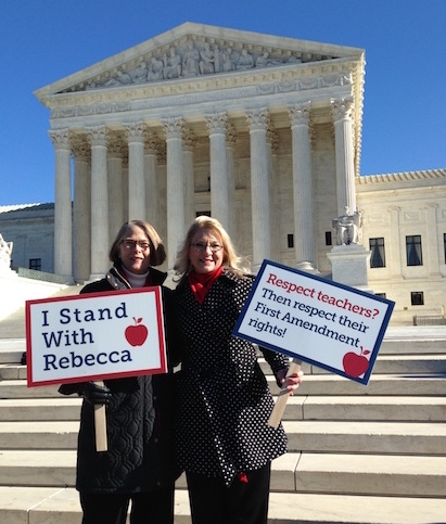Kim Crockett (left) and Rebecca Friedrichs on the Supreme Court steps this morning