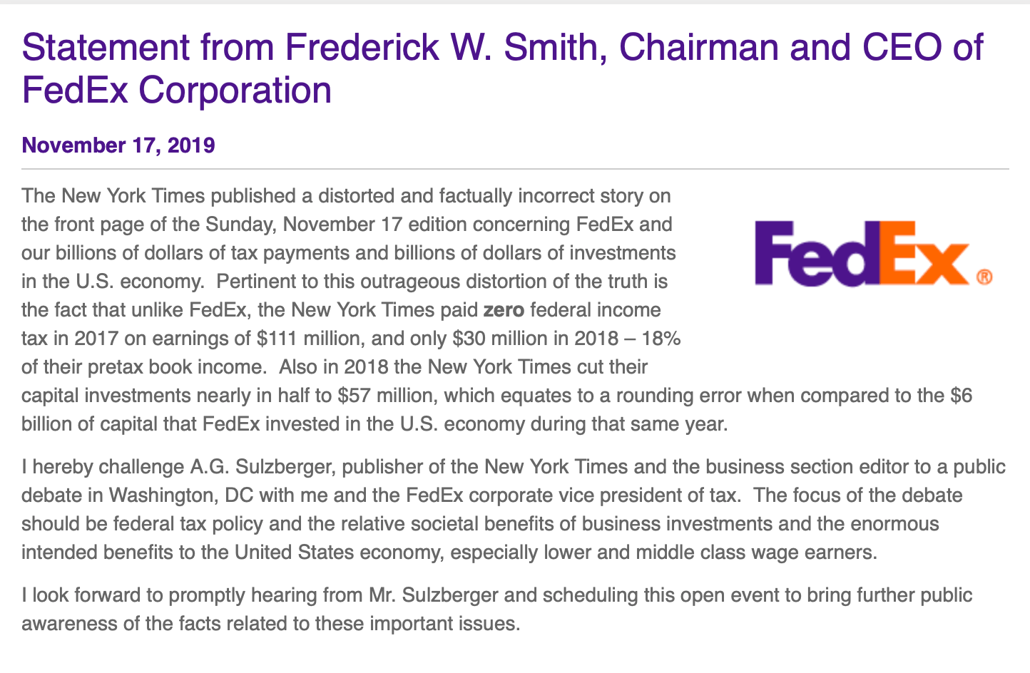 FedEx CEO calls for debate over 'distorted' New York Times article