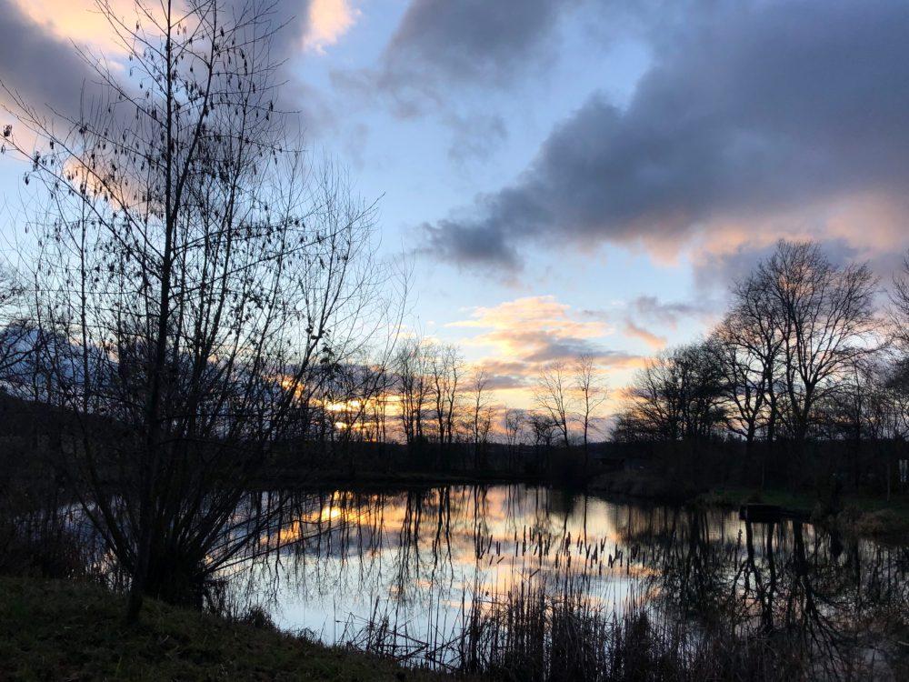 Von der Sonne beleuchtete Wolken spiegeln sich im Weiher wider