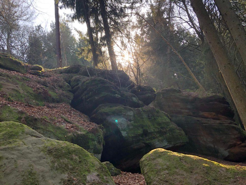 Mit Moß bewachsene Felsen bei dem Felsenpfad