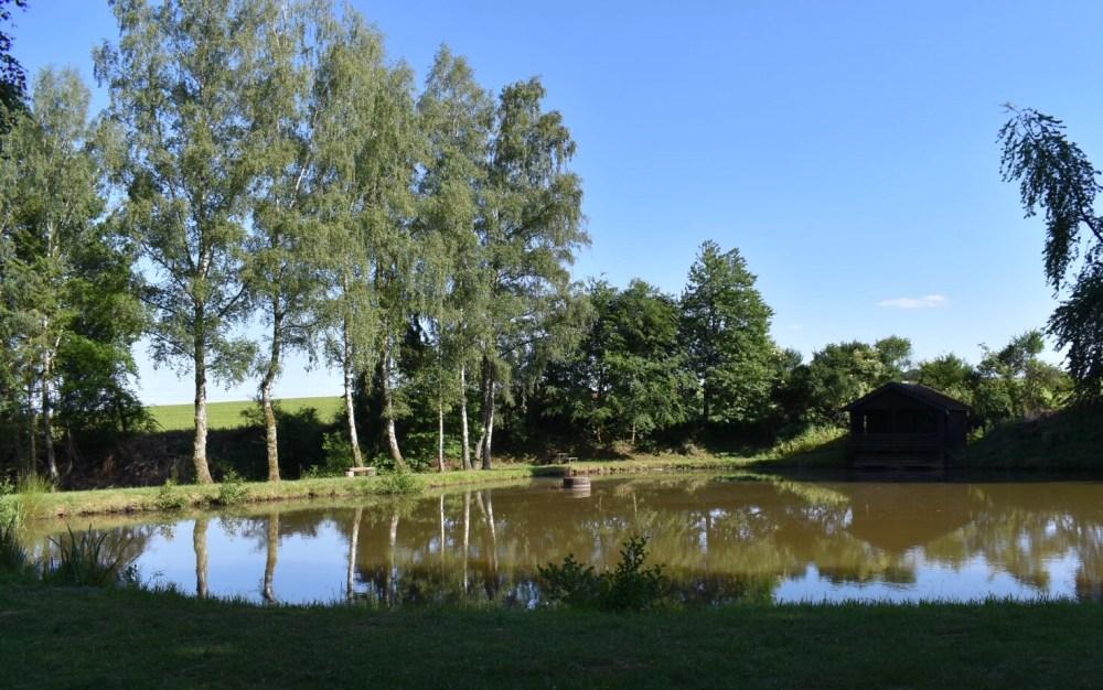Gewässer mit Birken und kleinem Holzhäuschen