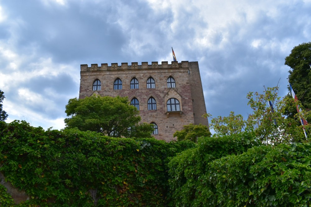 Grüne Hecken unter dem Hambacher Schloss bei bewölktem Himmel