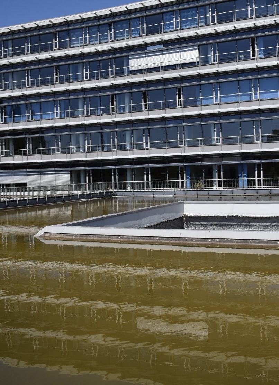 Gläserne Fassade eines Gebäudes spiegelt sich auf der grünen Wasseroberfläche
