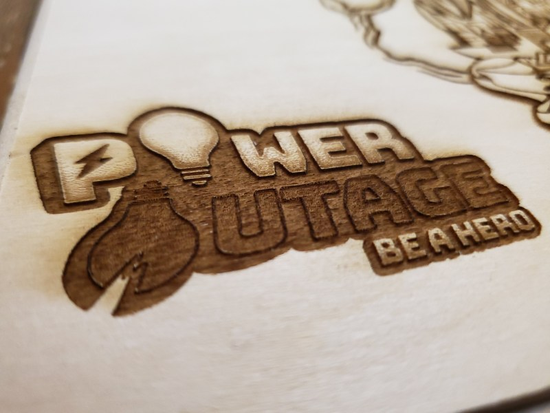 Power Outage Logo in Wood