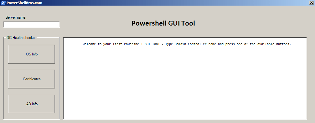 How to create your first Powershell GUI Tool