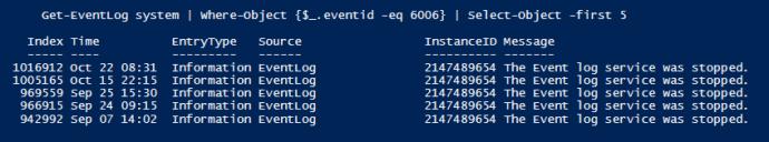 Get-EventLog