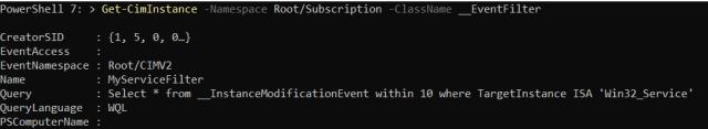 Registered EventFilter