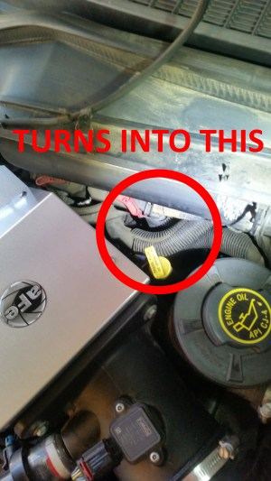 Leak at the top rear driver side of engine: Coolant or Transmission Fluid?  Ford Powerstroke