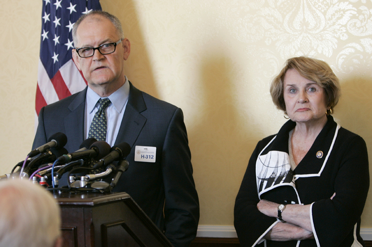 Former CIGNA Vice President Wendell Potter, left, who has become a whistleblower regarding the health care industry. (AP Photo/Susan Walsh)