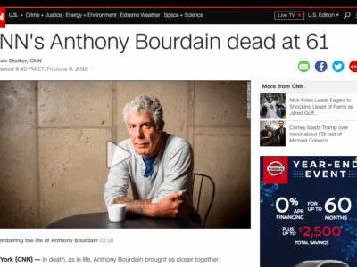 CNN's story about the death of food personality Anthony Bourdain was the most-read story of 2018, according to Chartbeat analytics. (Screenshot)