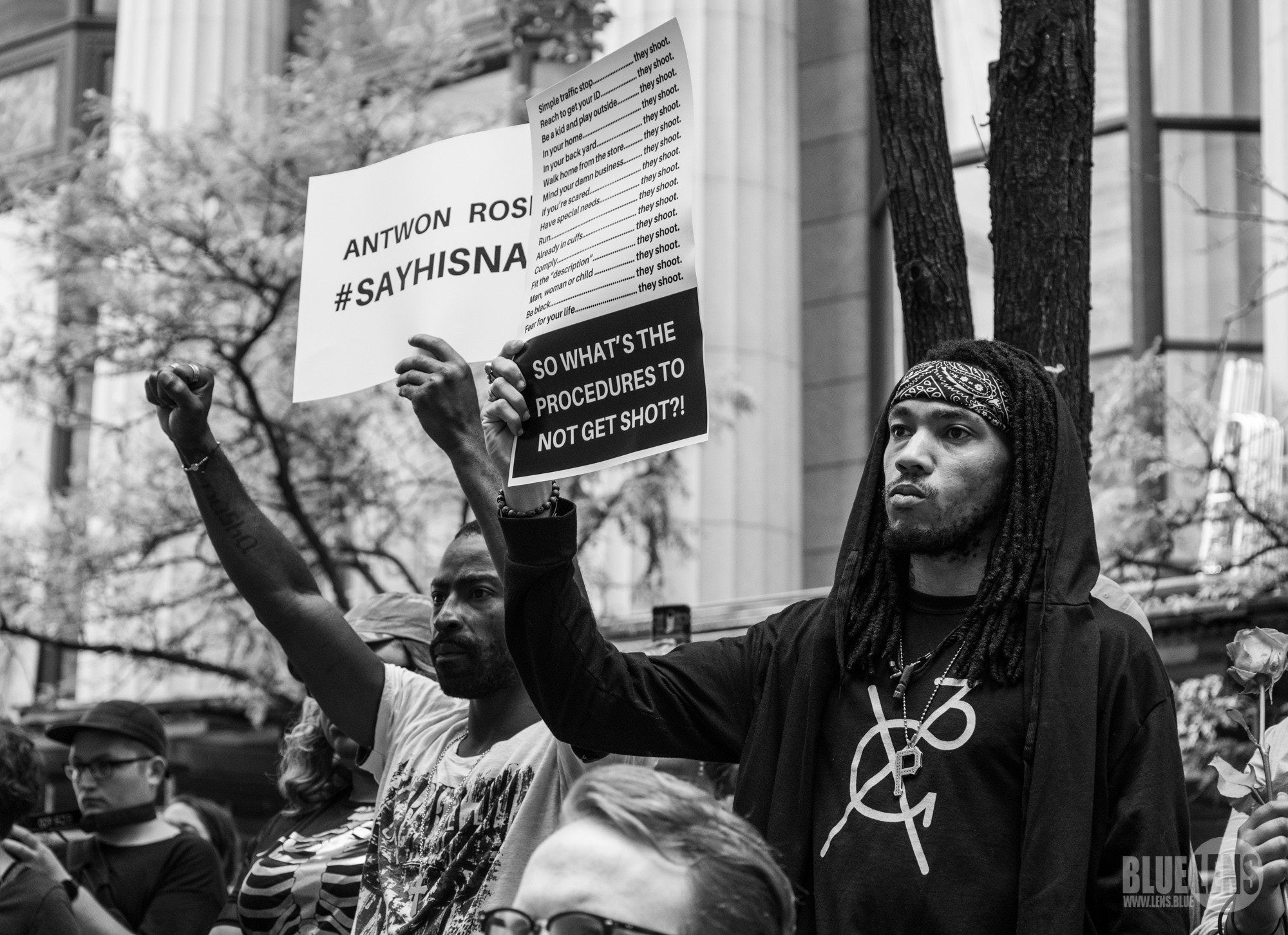 From PostIndustrial: People protesting the shooting of Antwon Rose Jr. on June 21, 2018, in downtown Pittsburgh, Pennsylvania. (Photo: Mark Dixon)
