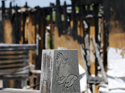 The burnt ruins of the Greater Union Baptist Church, one of three that were recently burned down in Louisiana. (AP Photo/Gerald Herbert)