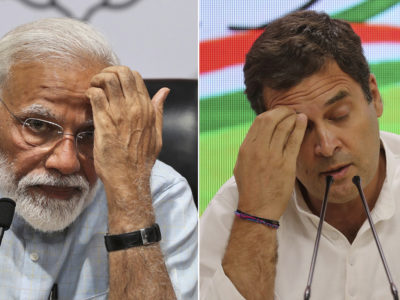This combination of two photographs show Indian Prime Minister Narendra Modi, left, and the country's main opposition Congress party President Rahul Gandhi address press conferences in their respective party headquarters in New Delhi, India, Friday, May 17, 2019. (AP Photos/Manish Swarup, Altaf Qadri)