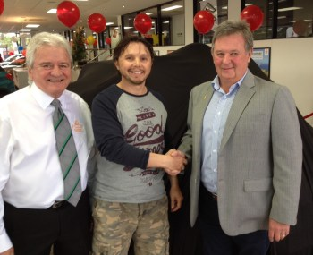 The Winner Boris Bizjak congratulated by Tony Devers and Vice President Pozieres Remembrance Association Mike Lee