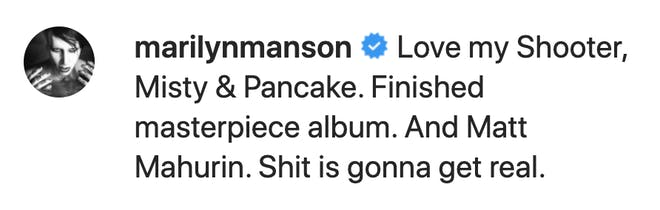 Marilyn Manson confirme sur Instagram la sortie d'un nouvel album