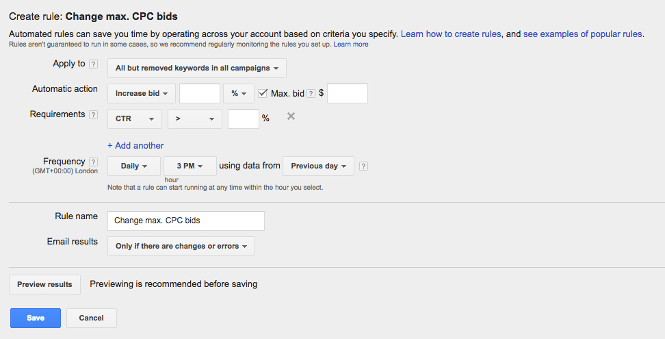 Review your AdWords automated rules