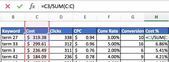 Calculating the total cost for each keyword