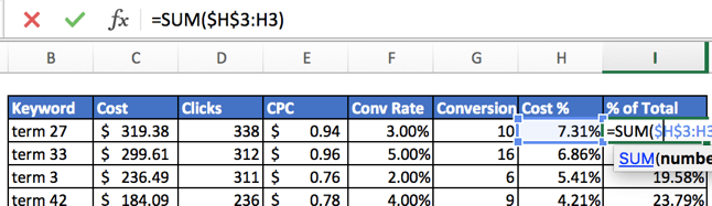 Calculating the summed percentages of cumulative total contributions
