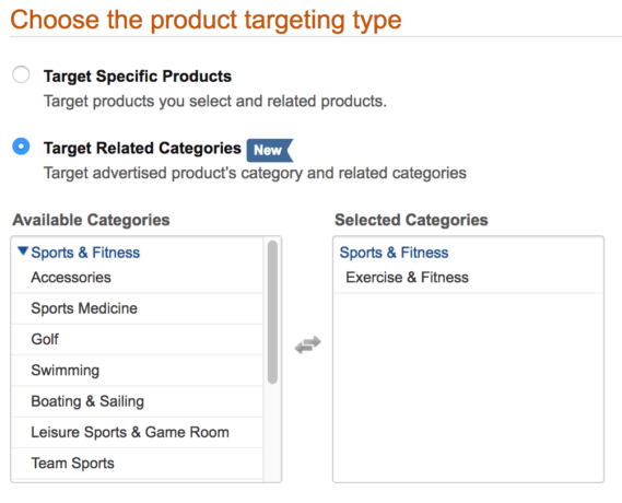 Choose the product targeting type