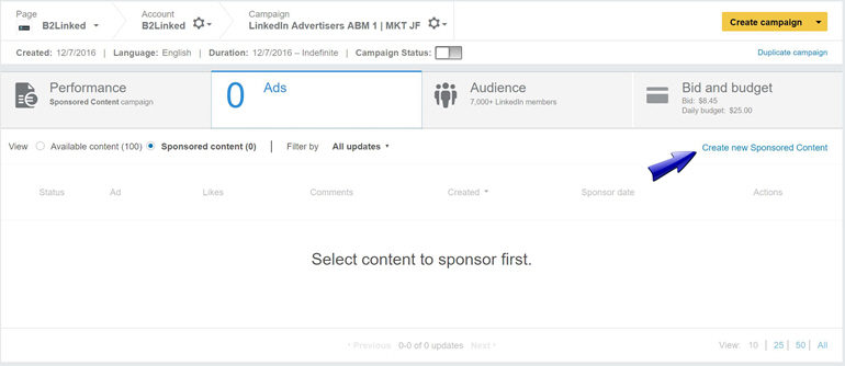How to Create new Sponsored Content