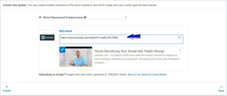 Paste your YouTube link into the field in the ad creator