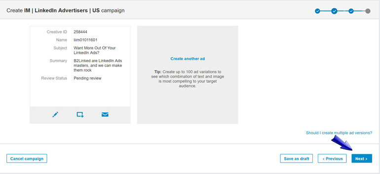 Create an additional InMail ad for A/B testing
