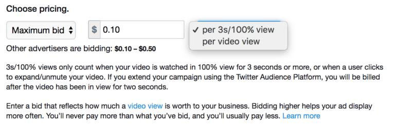 Twitter 3 second video views