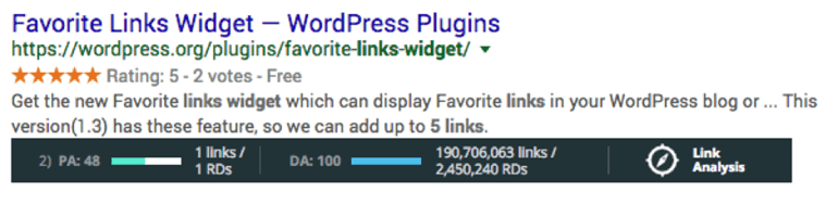 Favorite links widget WordPress plugin