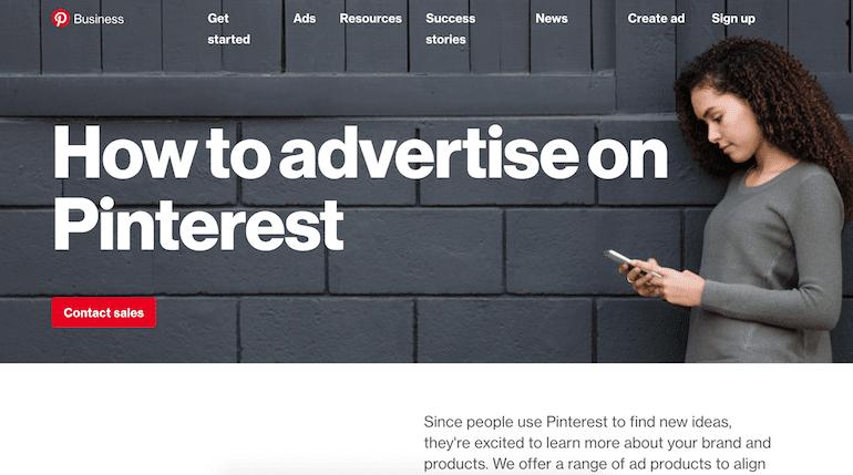 homepage pinterest ads