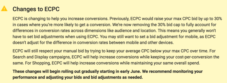 Changes to ECPC