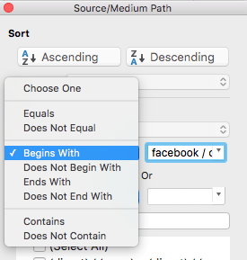 """Begins with """"facebook / cpc"""""""